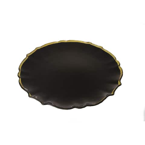"""Alice Pazkus 13"""" Black Charger With Gold Scalloped Design"""