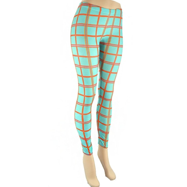 6ed2a83a85b0ec Shop Plaid Print Leggings-Turquoise - Free Shipping On Orders Over $45 -  Overstock - 22649998
