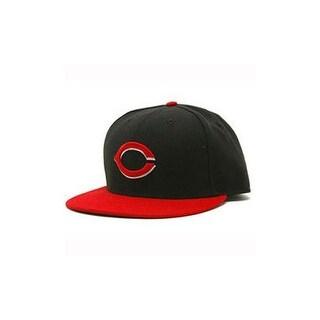 Cincinnati Reds New Era Performance Alternate Fitted Cap Hat Black/Red, 7 1/2