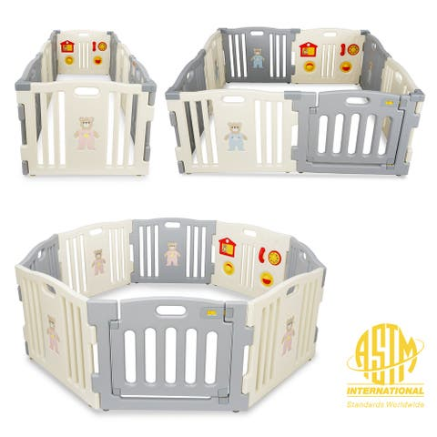 Kidzone Baby Playpen 8 Panel Safety Gate ASTM Certified, Grey- White - standard