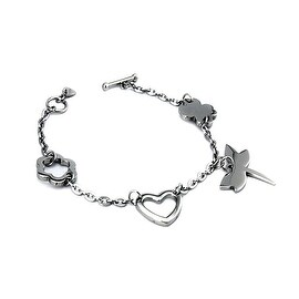 Stainless Steel Ladies Butterfly, Heart and Clover Charm Toggle Bracelet 7.25 Inches