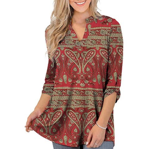 Womens Plus Size 3/4 Roll Sleeve Floral Print Henley Tops Shirts Tunic