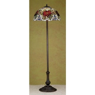 Meyda Tiffany 27601 Stained Glass / Tiffany Floor Lamp from the Renaissance Rose Collection - tiffany glass
