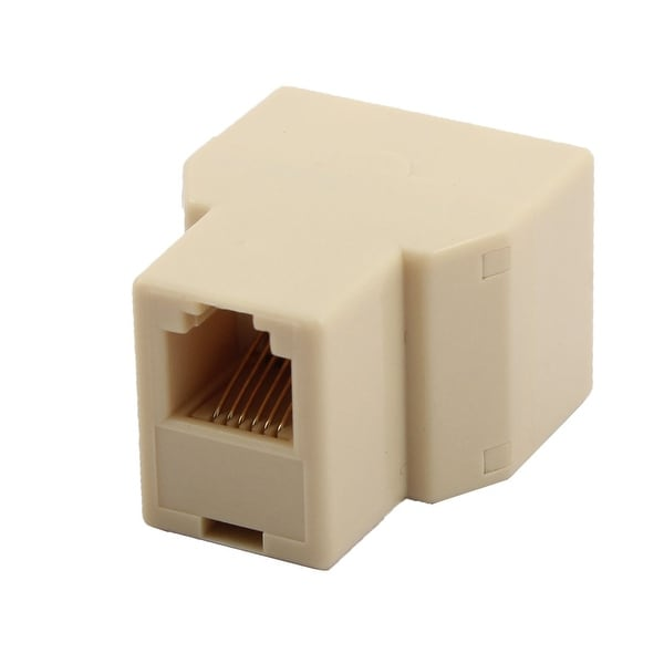 RJ12 6P6C 1 Female to 2 Female Telephone Wire Cable Connector Splitter Beige