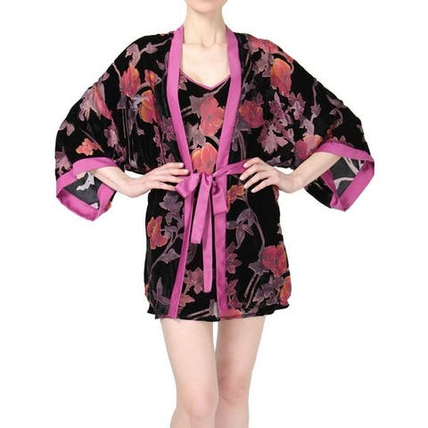MeMoi Women's Velvet Burnout Kimono Robe