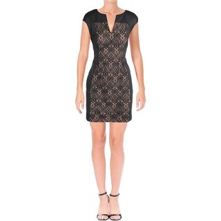 Connected Apparel Womens Petites Wear to Work Dress Lace Panel Sheath