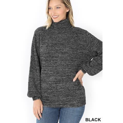 JED Women's Melange Long Sleeve Turtleneck Sweater