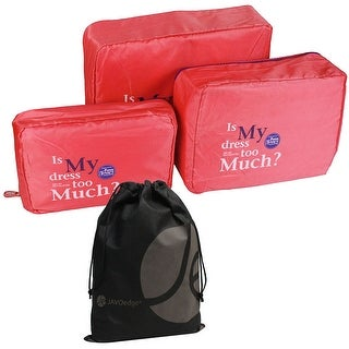 3 Piece Nylon Mesh Travel and Storage Zipper Packing Cubes with Bonus Reusable Cosmetic / Toiletry Bag