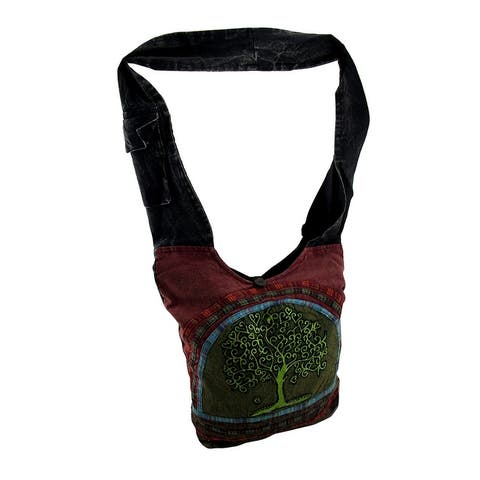 Tree of Life Fully Lined Cotton Canvas Cross Body Bag