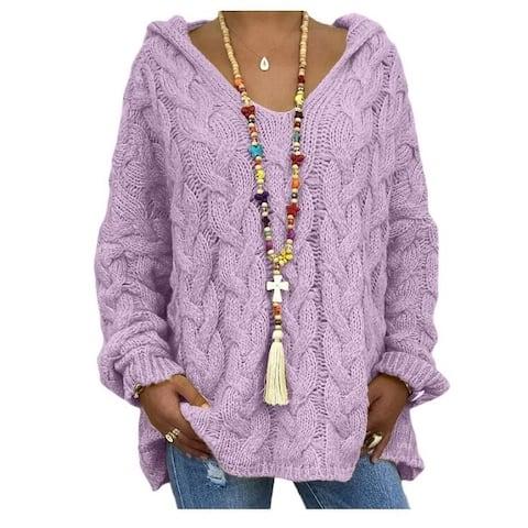 Twist Knit Hoodie Sweater