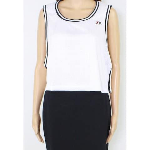 Champion Womens Tank Top White Black Size XL Cropped Reversible Mesh