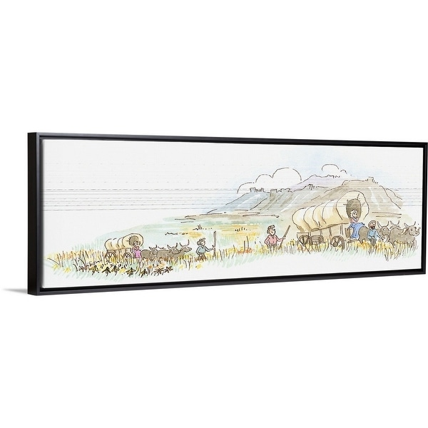 Floating Frame Premium Canvas With Black Frame Entitled Cartoon Of Immigrants In Wagon Train On Journey Through Prairie