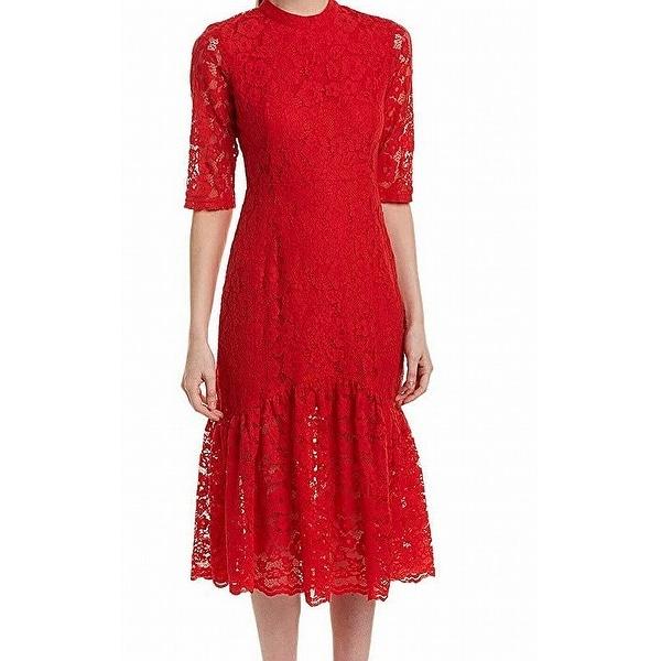 35af11d733 Onebuye Women Red Size Large L Floral Lace Dropped Waist Sheath Dress