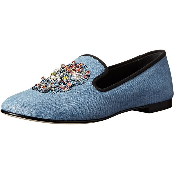 Giuseppe Zanotti NEW Blue Since Cielo Shoes 8.5M Loafers Flats
