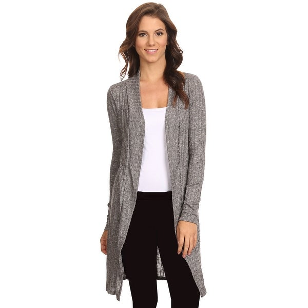 Women's Ribbed Open Front Long Sleeve Cardigan Made in USA HEATHER CHARCOAL (Small)