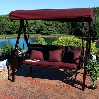 Sunnydaze Deluxe Outdoor Patio Swing with Heavy Duty Steel Frame, Canopy, Maroon Cushions and Attached Side Tables, Seats 3