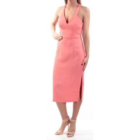d3be5a8ff1199 BCBGENERATION Womens Coral Slitted Sleeveless V Neck Knee Length Sheath Evening  Dress Size: 2XS