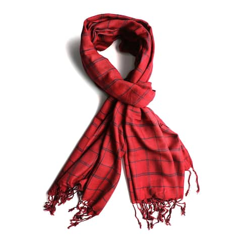 In-Sattva - Handwoven Artisan-Crafted Checkered Pattern Bohemian Scarf Stole