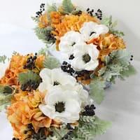 G Home Collection Luxury Orange Hydrangea and White Anemone Flower Arrangement