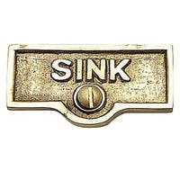 Switch Plate Tags SINK Name Signs Labels Lacquered Brass | Renovator's Supply
