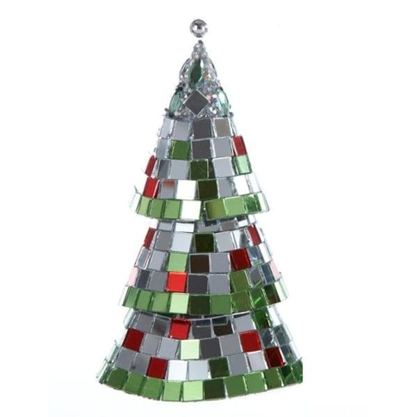 """5"""" Christmas Brites Mirrored Mosaic Cone Christmas Tree Ornament - multi"""