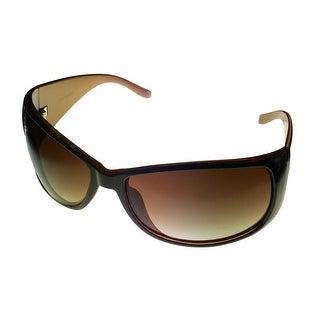 Levi Mens Sunglass LS124 2 Brown Rectangle Plastic Wrap Brown Gradient Lens - Medium