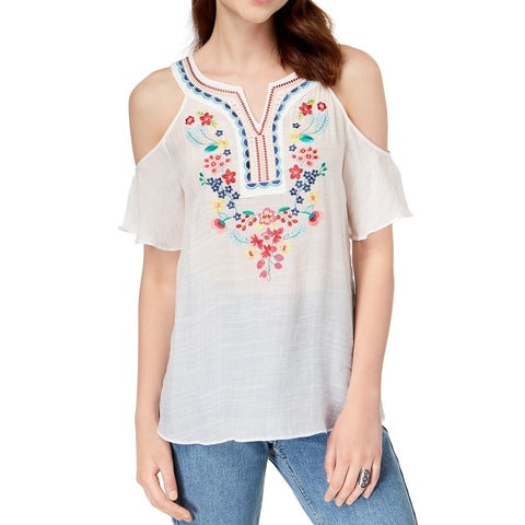 BCX White Women's Size Medium M Cold-Shoulder Embroidered Blouse