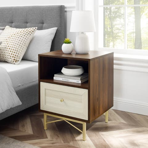 Silver Orchid 1-Drawer Gold Base Nightstand