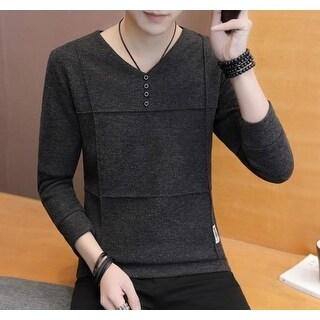 Mens Slim Fit V Neck Sweater - Gray - XS