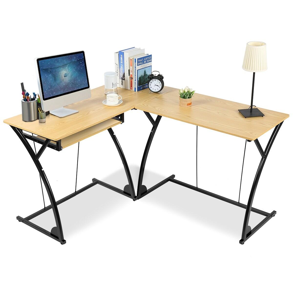 - L-Shaped Desk Corner Computer Gaming Laptop Table Workstation Home