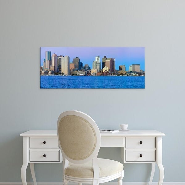 Easy Art Prints Panoramic Image 'Boston Harbor, Boston skyline at sunrise, Massachusetts, New England' Canvas Art