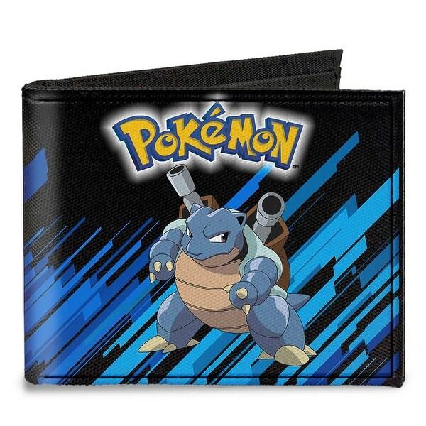 Pok�mon Blastoise Pose Black Blue Stripe Canvas Bi Fold Wallet One Size - One Size Fits most