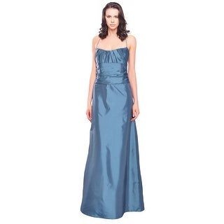 Amsale Elegant Pleated Taffeta A-line Evening Gown Dress - 10