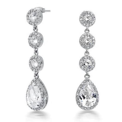 Bridal Halo Set Cubic Zirconia Pave CZ Teardrop Long Prom Pageant Statement Chandelier Earrings 14K Silver Plated Brass