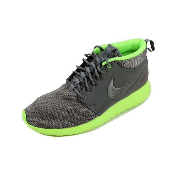 Nike Men's Rosherun Mid Mercury Grey/Mercury Grey-Flash Lime 599501-003 Size 10.5