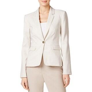 Calvin Klein Womens One-Button Blazer Striped Long Sleeves