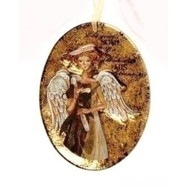 "5.5"" Royal Symphony Inspirational Rustic Oval Angel Glass Christmas Ornament - GOLD"