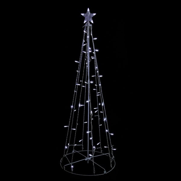 5' Cool White LED Lighted Outdoor Show Cone Christmas Tree Outdoor Decoration - CLEAR