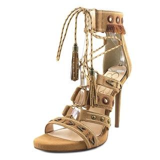Jessica Simpson Roona Women  Open Toe Leather Brown Platform Heel