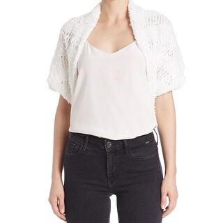 T Tahari NEW White Womens Size Medium M Biella Open-Knit Shrug Sweater
