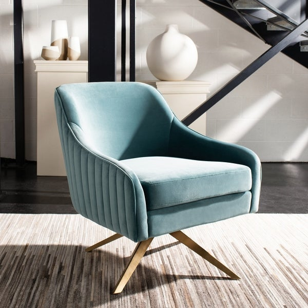 """Safavieh Couture Leyla Channeled Velvet Accent Chair - 28.2""""x29.9""""x31.6"""". Opens flyout."""