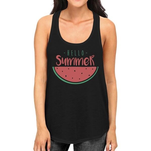 75090f9e18f4f Shop Hello Summer Watermelon Womens Black Graphic Tank Top For ...