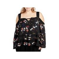 Rachel Rachel Roy Womens Plus Blouse Floral Cold Shoulder