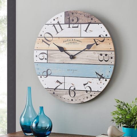 FirsTime & Co.® Newton Woodgrain Farmhouse Clock, American Crafted, Multi-Color, Wood, 24 x 1.75 x 24 in - 24 x 1.75 x 24 in