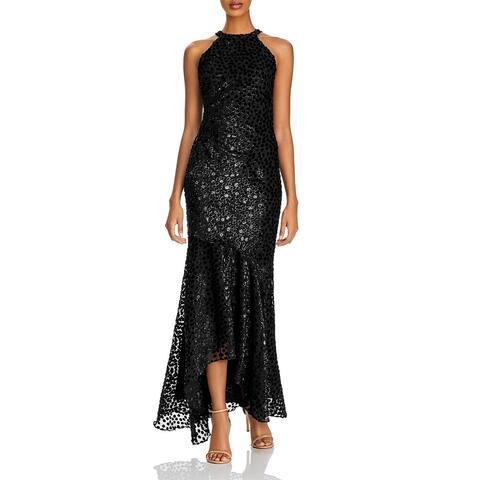 Shoshanna Womens Cleona Evening Dress Chiffon Metallic - Jet /Silver
