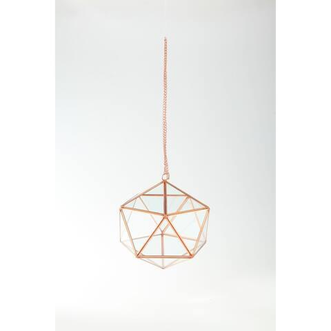 "8"" Rose Gold Colored Hexagonal Hand Blown Glass Terrarium Planter with Chain"