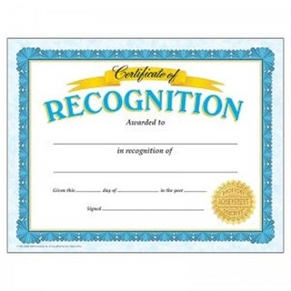 Certificate Of Recognition Classic Template, 30 Per Pack - Pac