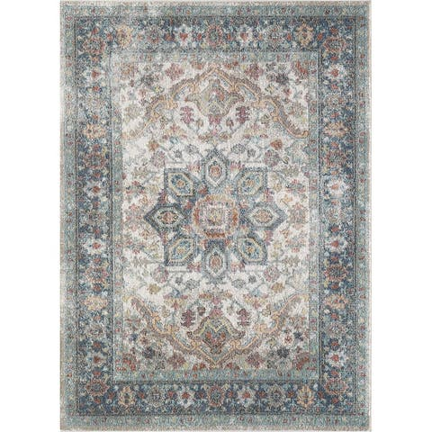 Saxby Blue and Cream Woven Area Rug