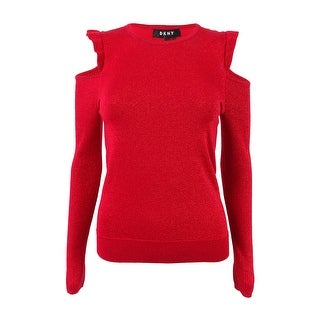 DKNY Women's Ruffled Cold Shoulder Sweater