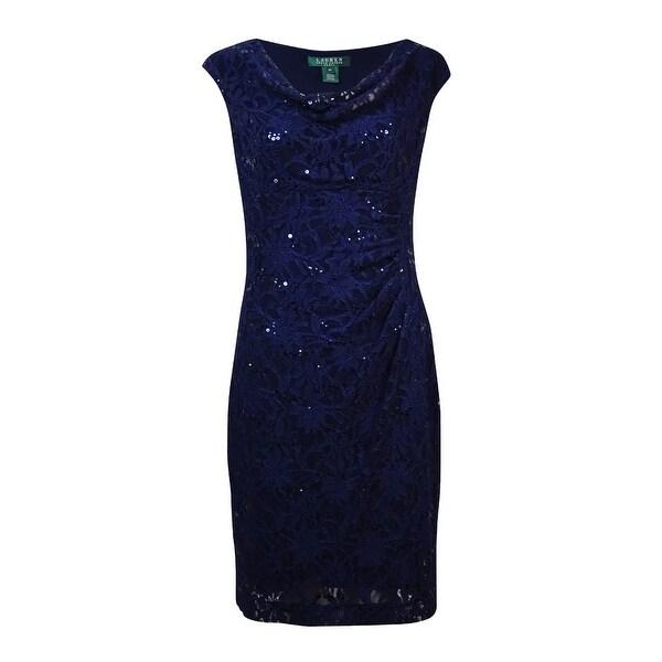 3062f71fae Shop Lauren Ralph Lauren Women's Cowl Sequined Lace Dress - Free ...